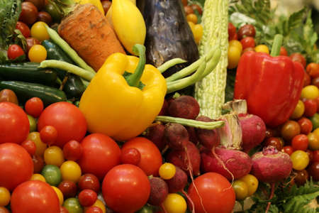 variety fruit and vegetable background photo