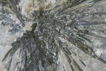 antimony: macro antimony mineral in stone, stibnite
