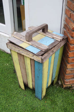 receptacle: close up colorful blue color wood bin