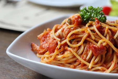 spaghetti with tomato sauce close up