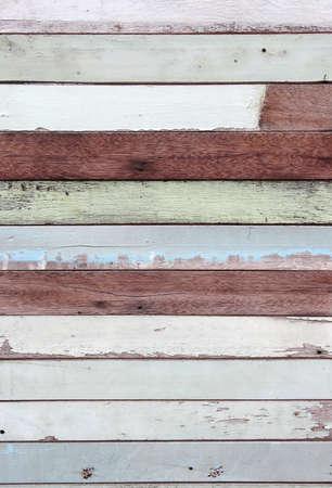 macro peel off blue colorful plank wall background Standard-Bild