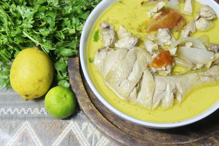 close up Green chicken curry , Thai cuisine photo