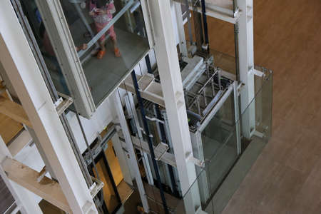 building structure: elevator structure inside the building Stock Photo