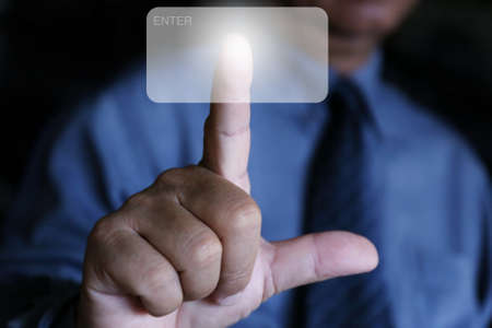 businessman use finger click the air
