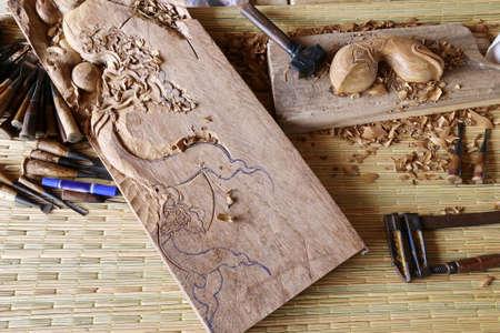 gouge: gouge wood chisel carpenter tools working wooden background Stock Photo