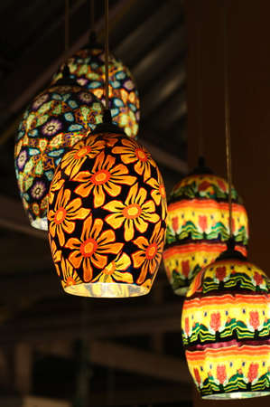 colorful lantern: colorful lantern hanged on ceiling Stock Photo