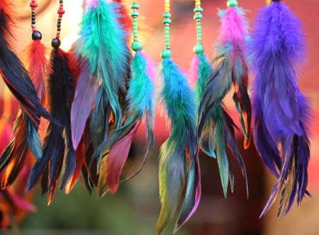 カラフルな羽毛の背景 写真素材