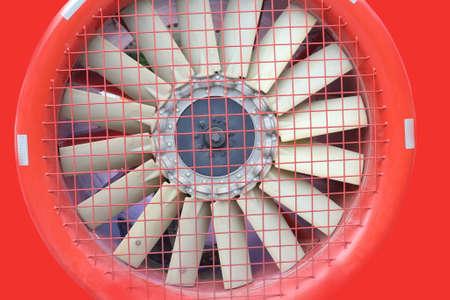 turbojet: red fan turbine background, ventilation system