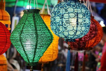 multicolor lantern: colorful lantern in shop