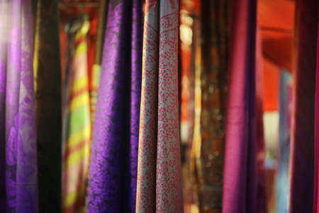 cotton fabric: colorful cotton fabric hang background Stock Photo
