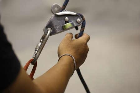 simulator: Climbing simulator, hand with rope