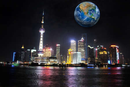 moon  metropolis: Shanghai city at night with the earth