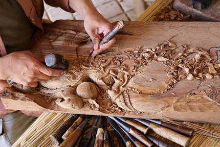 craftsman carving wood, thai art Stock Photo