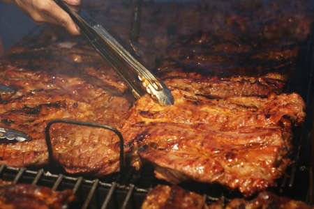 barbecue ribs: beef rib bbq on grill
