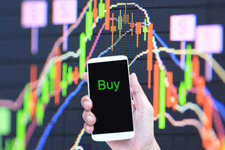stock chart: smartphone with stock chart Stock Photo