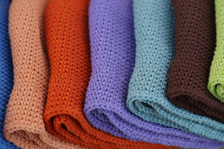 stacked: colorful knitting stacked background Stock Photo