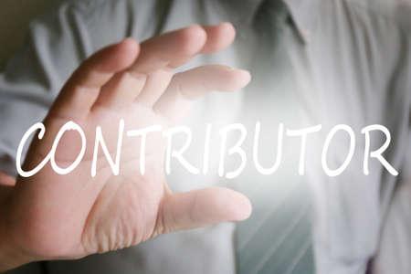 contributor: businessman hand, contributor text Stock Photo