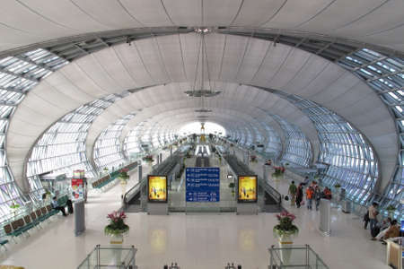 BANGKOK - SEPTEMBER 3 :The main concourse of Suvarnabhumi Airport , designed by Helmut Jahn is the worlds third largest single-building airport terminal on September 3, 2011 in Bangkok ,Thailand.
