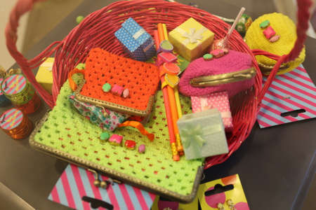 carryall: colorful purse in basket