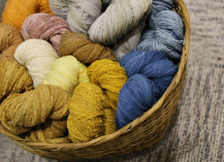 cotton thread: colorful cotton thread in basket