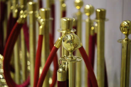 stanchion: Gold stanchion posts, cinema zone