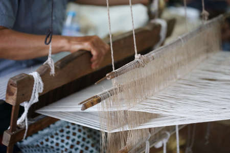 loom: Weaving, traditional Asia loom detail Stock Photo