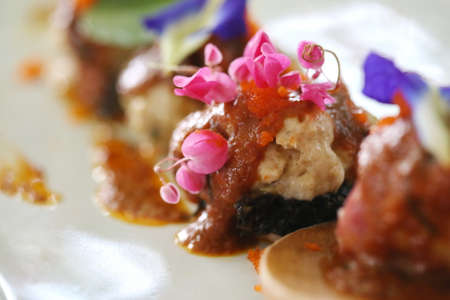 japanese cookery: deep fried chinese dumpling on plate