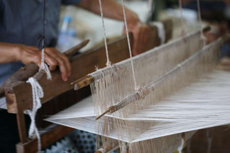 weaving: Weaving, traditional Asia loom detail Stock Photo