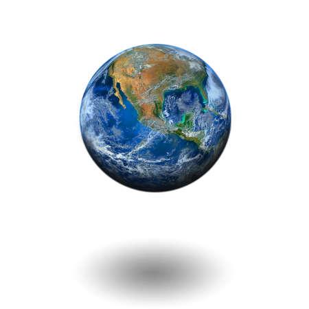 floating: world floating on white background
