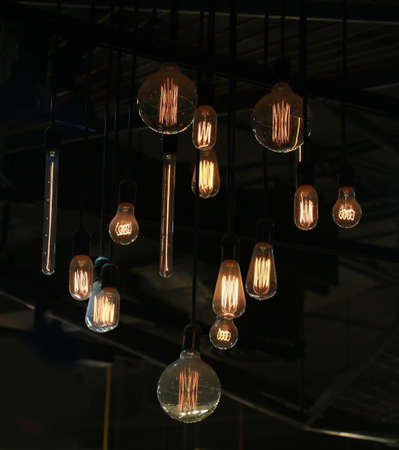 tungsten: Tungsten lamps hanging from ceiling Stock Photo