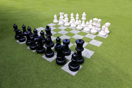 chess game: Chessboard and chess pieces on the grass in the garden