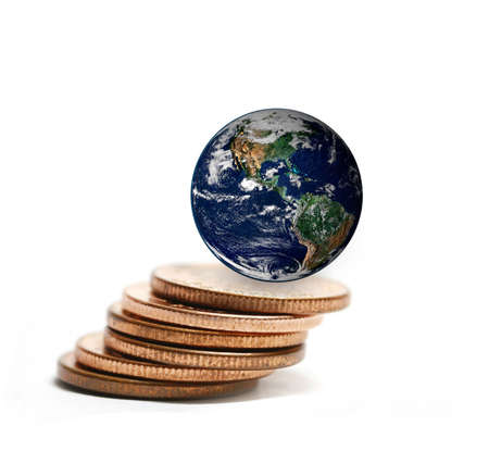 making earth: the earth on coins stacked ,including elements furnished by NASA