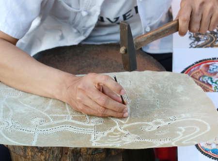 shadow play: hand making shadow play, Thailand hand craft Stock Photo