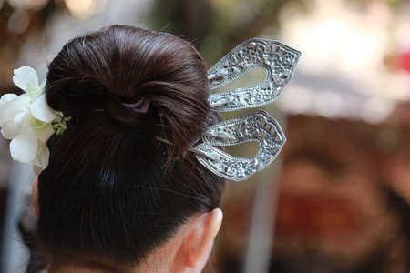 silver hair: silver hair pin on hair, Thai style Stock Photo