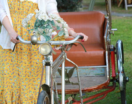 autorick: Asian style tricycle with women , Chiang Mai, Thailand