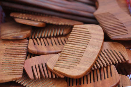 combs: closeup wood combs, background