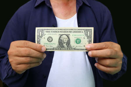 giving money: Businessman giving money, united states dollar (USD) bills - cash