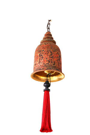 big ancient red gold brass bell isolated on white background