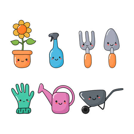 set of cute funny garden tools icons kawaii style icons isolated on white background. illustration vector.