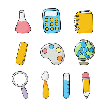 education items isolated on white background. vector Illustration.