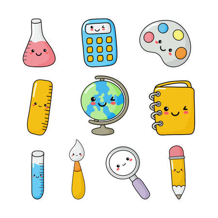 set of cute funny school supplies kawaii style. calculator, magnifier, pens, brush, ruler, notebook, globe, and others. education items isolated on white background. vector Illustration. Illustration