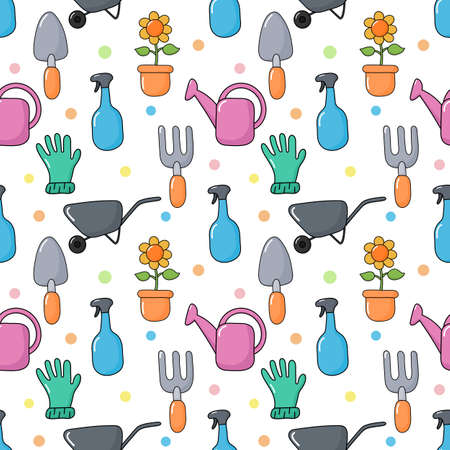 cute funny garden tools seamless pattern kawaii style on white background. vector Illustration.