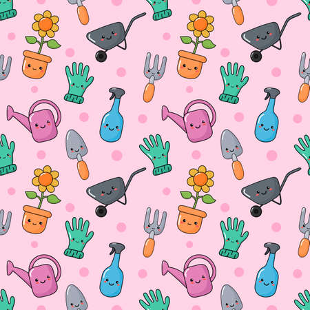 cute funny garden tools seamless pattern kawaii style on pink background. vector Illustration. Illusztráció