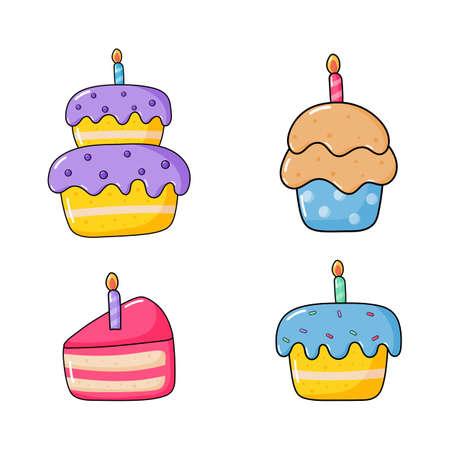birthday cake icon set. food party cartoon style. isolated on white background. vector illustration.