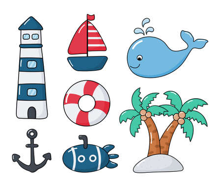 nautical set icons cartoon style. isolated on white background. vector illustration. Illusztráció