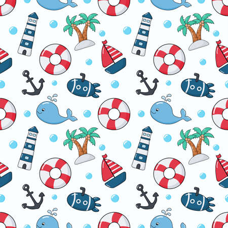seamless pattern nautical icons cartoon style. isolated on white background. vector illustration.