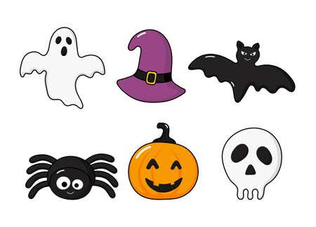 happy halloween icons set isolated on white background. vector Illustration. Ilustrace