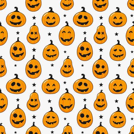 seamless pattern cartoon happy halloween pumpkin and stars isolated on white background. vector Illustration. Ilustrace