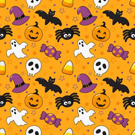 seamless pattern happy halloween icons isolated on orange background. vector Illustration.