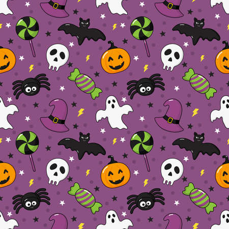 seamless pattern happy halloween icons isolated on purple background. vector Illustration.